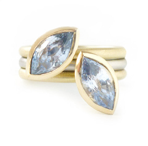 contemporary and modern cornflower blue sapphire rings set