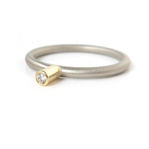 Contemporary 18k white and yellow gold engagement ring by Sue Lane Jewellery