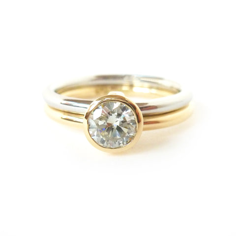 Contemporary bespoke gold, platinum and diamond ring by Sue Lane Jewellery
