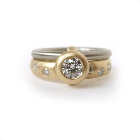 Contemporary bespoke two band white and yellow gold and diamond ring