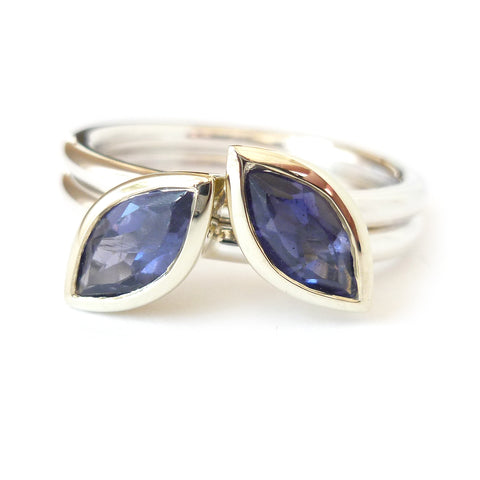 White gold and tanzanite remodelled ring commission by Sue Lane Jewellery UK
