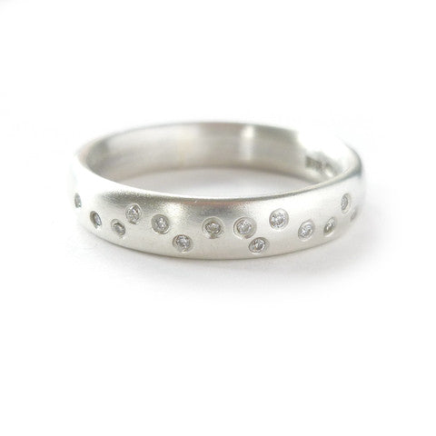 designer silver diamond eternity handmade by Sue Lane JEwellery