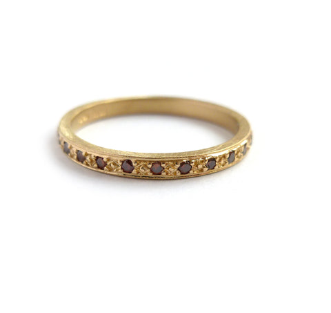 Modern designer gold and cognac diamond eternity ring handmade by Sue Lane Jewllery UK