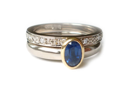 remodelled sapphire and diamond white gold ringset