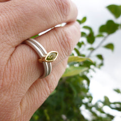 green peridot leaf shape ring