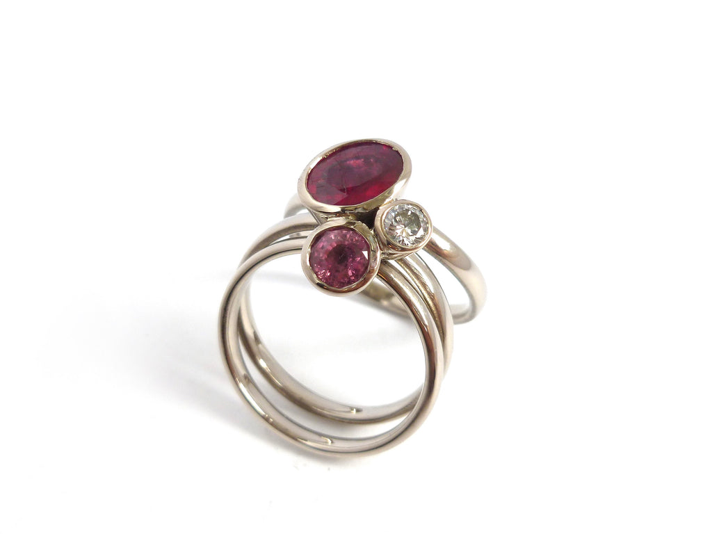 Ruby, sapphire and 18ct white gold ring commission by Sue Lane