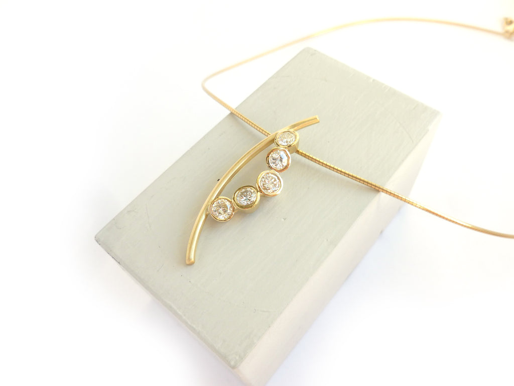 Diamond and gold necklace commission recently up-cycled from old family jewellery