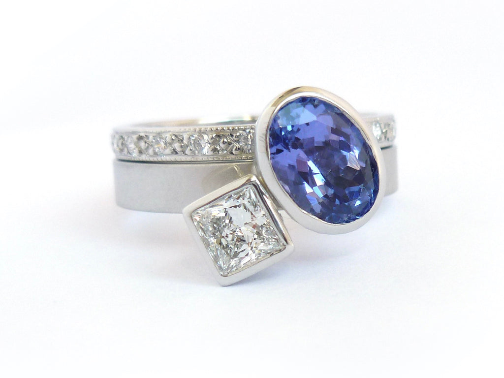 Platinum, tanzanite and diamond contemporary modern and unique ring