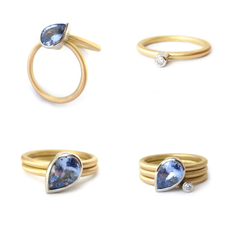 Gold and platinum stacking rings with cornflower blue sapphire and diamond