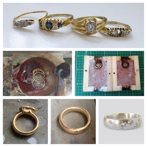 Contemporary and modern engagement ring, gold and diamonds with a matt or brushed finish, handmade and remodelled by Sue Lane Jewellery