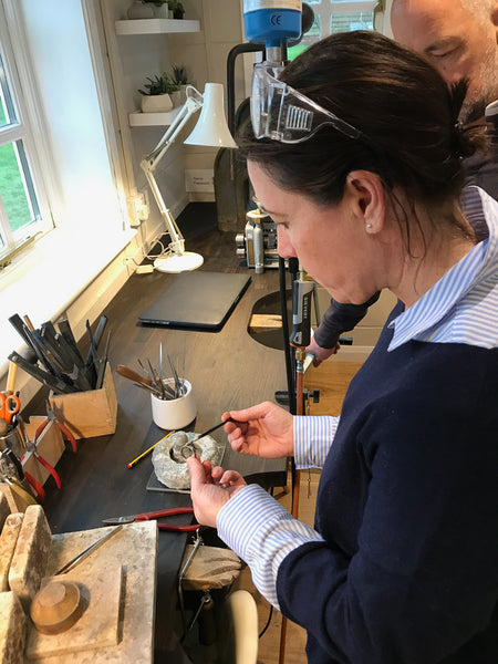 Student making their own wedding ringswith Sue Lane
