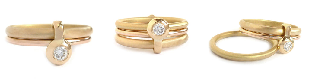 Modern contemporary gold wedding engagement ring set