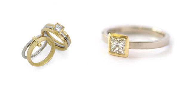 Unusual, unique, bespoke and modern white and yellow gold square diamond wedding and engagement ring set handmade to commission by designer maker Sue Lane Contemporary Jewellery, UK