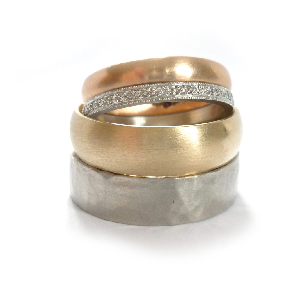 Modern handmade wedding rings in rose gold, yellow gold, palladium and platinum