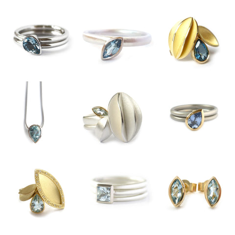 March birthstone is Aquamarine. Aquamarine rings, earrings and necklaces made by Sue Lane Jewellery