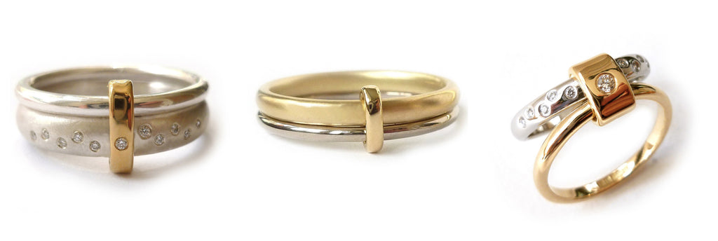 modern white and yellow gold two tone stacking contemporary wedding ring