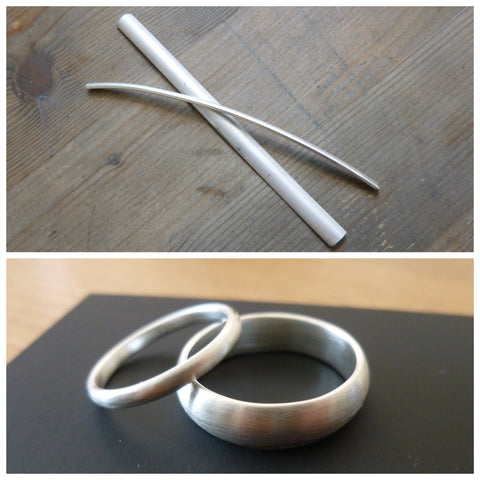 modern bespoke silver matt wedding rings