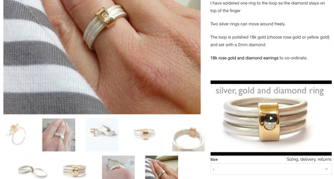 silver and rose gold stacking ring