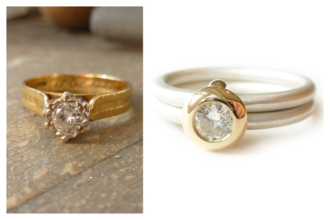 remodel and up cycled gold ring and diamond into modern sue lane jewellery design