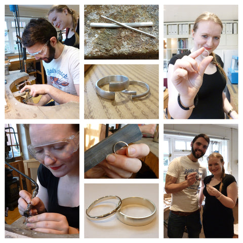 Jeremy and Erica: white gold wedding rings: Make your own wedding ring workshop with Sue Lane Contemporary Jewellery in Herefordshire UK