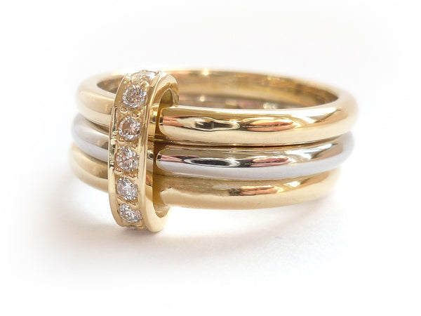 modern three band gold and palladium stacking ring with pave diamonds eternity ring jewellery commission 2