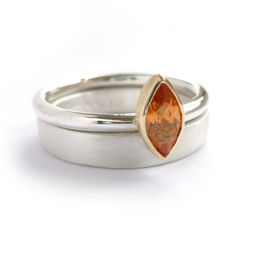 Orange garnet, silver and gold ring handmade by Sue Lane