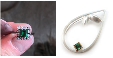 Remodelled green tourmaline ring into a modern bespoke brooch