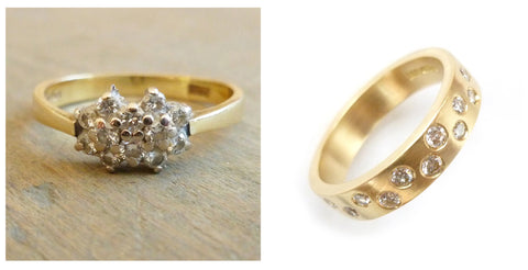 upcycled, remodelled ring reused gold