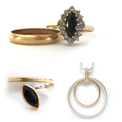 remodel gold, diamond and sapphire ring into a new modern necklace and ring