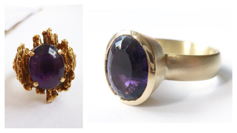 remodelled bespoke chunky gold amethyst  ring