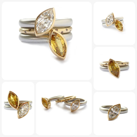 contemporary platinum and gold ring set with diamond and yellow sapphire