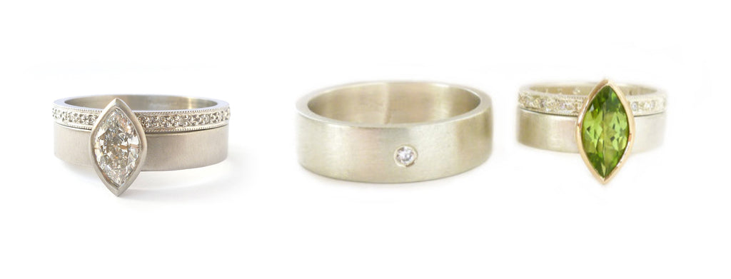 Platinum wedding and engagement rings made to commission. Rework re work re-work recycled