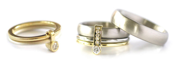 Unusual, unique, bespoke and modern gold silver and diamond wedding and engagement stacking ring set handmade to commission by designer maker Sue Lane Contemporary Jewellery, UK