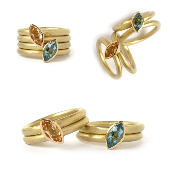 Four band ring set, gold and yellow topaz, 18k gold and aquamarine, marquise,