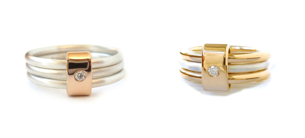 Unusual, unique, bespoke and modern rose gold and silver diamond wedding and engagement ring handmade to commission by Sue Lane Contemporary Jewellery, UK