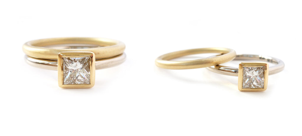Modern gold and princess diamond engagement stacking ringset by Sue Lane Jewellery Uk