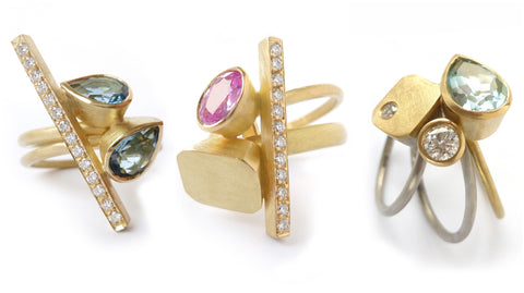 contemporary gold rings :  UK design
