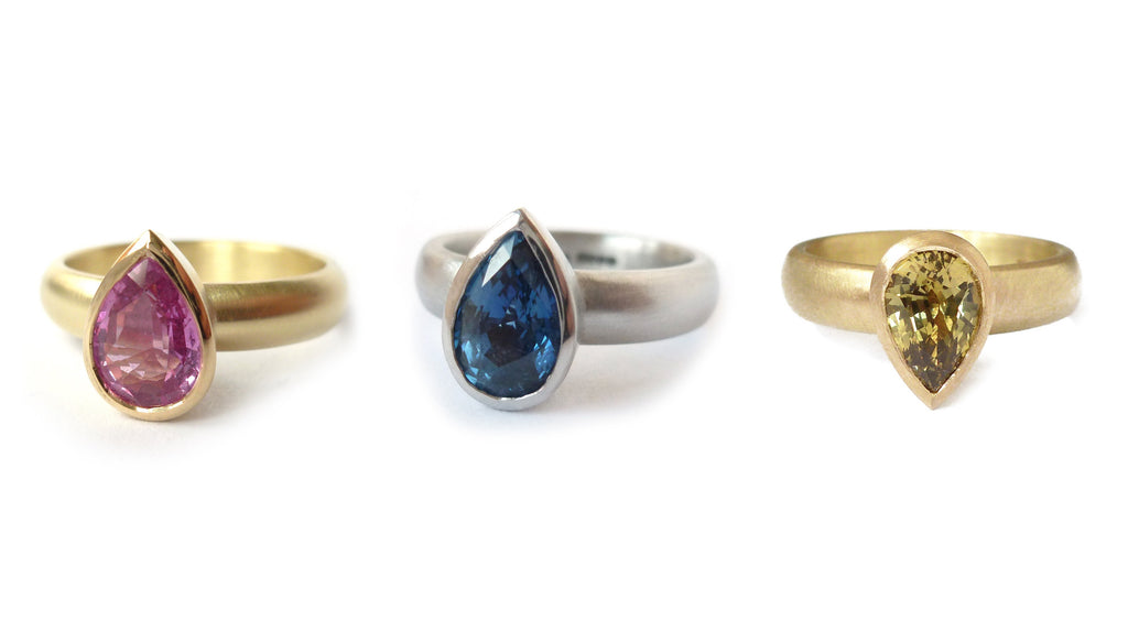 contemporary pink sapphire, blue sapphire and green sapphire engagement rings by Designer and maker Sue Lane UK