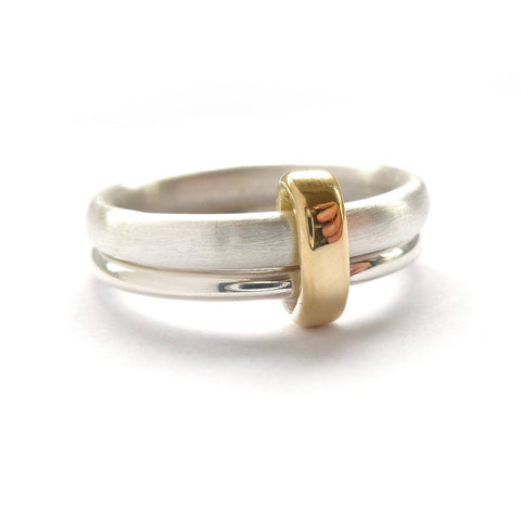Silver and 18ct gold ring - contemporary, unique and bespoke wedding ring - Sue Lane.