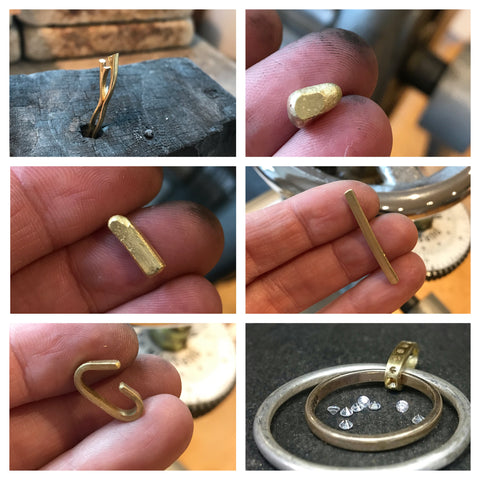 work in progress of remodelling a ring and necklace