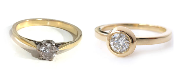 up-cycled and remodelled engagement ring by Sue Lane Contemporary jewellery