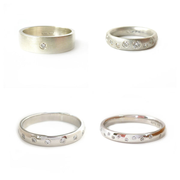 Top left: 6mm wide 9k white gold ring set with 2mm round diamond  Top right: 4mm court shape silver ring set with various size diamonds  Bottom left: Platinum 3mm band set with diamonds  Bottom right: Platinum ring set with 1mm diamonds