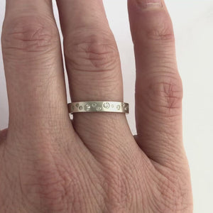 Contemporary jewellery, handmade, modern, bespoke silver eternity ring by Sue Lane