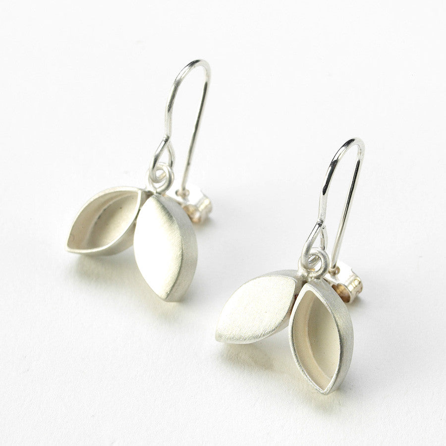 Unusual, unique, bespoke and modern silver hook drop earrings. Handmade by Sue Lane Contemporary Jewellery in Herefordshire, UK.