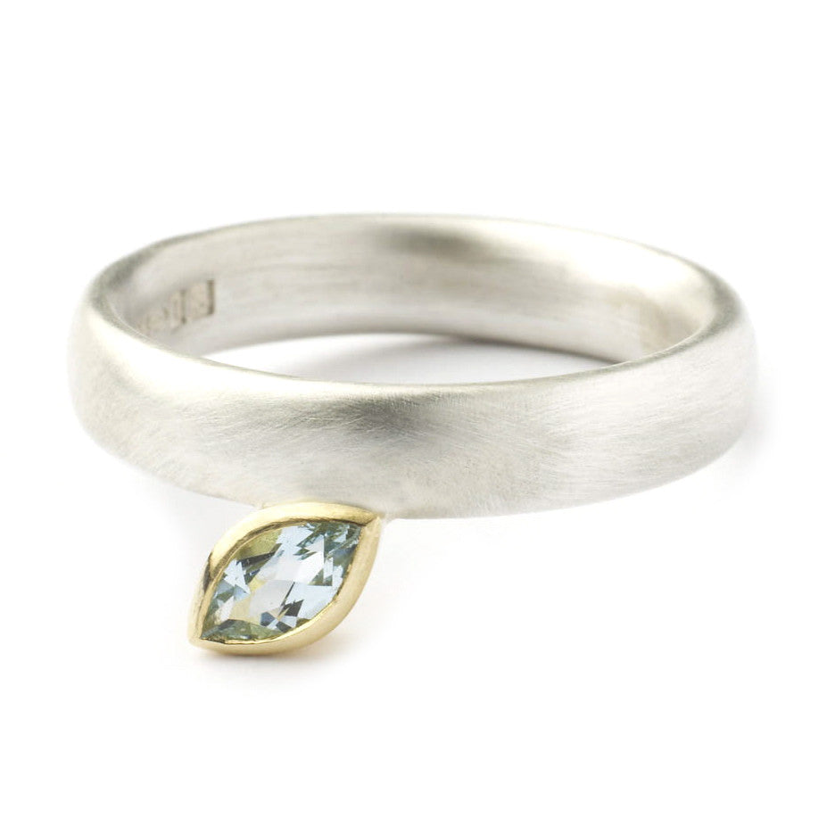 Contemporary, modern and bespoke silver, 18k gold and marquise aquamarine handmade stacking ring, by Sue Lane Jewellery. Unique, designer engagement ring