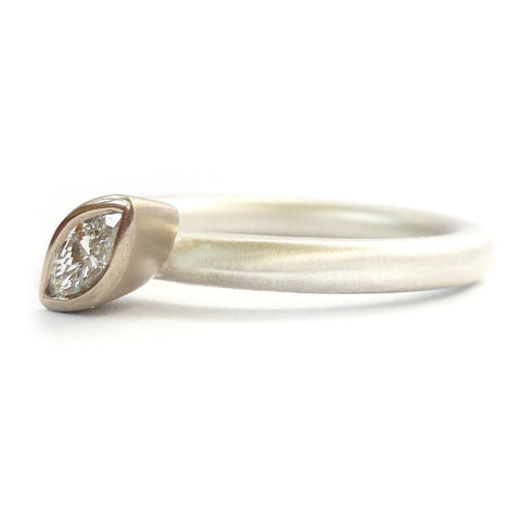 Contemporary, modern and bespoke silver, 18k white gold marquise diamond stacking ring. Unique, alternative engagement by Sue Lane Jewellery. Made to commission