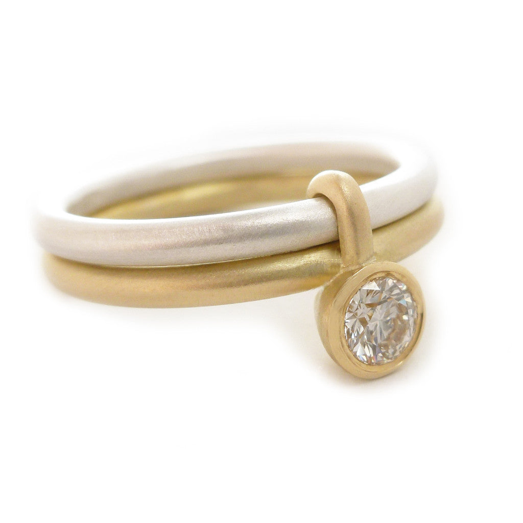 Contemporary, silver and 18k yellow gold two band ring with diamond. Perfect wedding, engagement, or eternity ring. A bespoke handmade modern design by Sue Lane