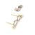 Contemporary bespoke white and yellow gold earrings, modern handmade by jeweller designer Sue Lane