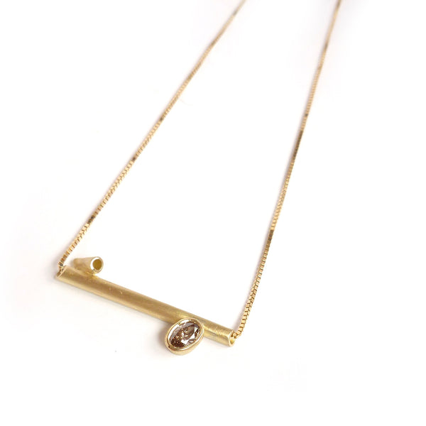 Contemporary, handmade, bespoke and unique 18ct gold necklace diamond - commission