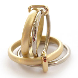 18ct gold two band ring - contemporary, bespoke alternative & modern